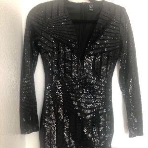 Windsor Black Sequin Mini Dress